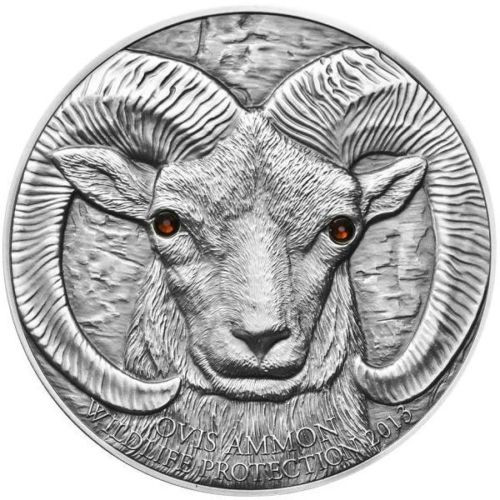 2013 Mongolia Silver 500 Togrog Argali Ovis Ammon SWAROVSKI®