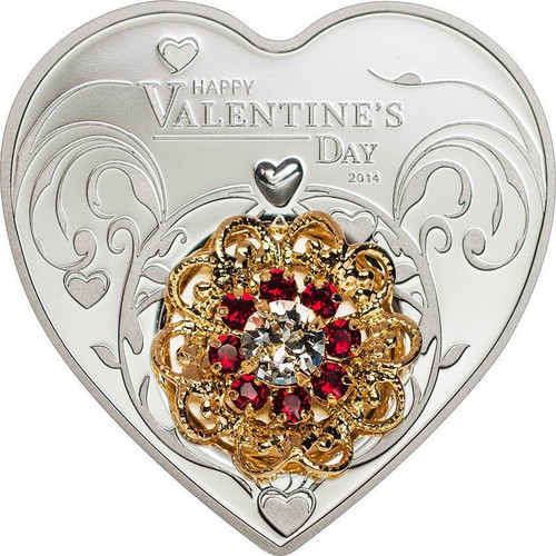 2014 5$ Happy Valentine's Day Love Heart Shape Silver Proof Coin