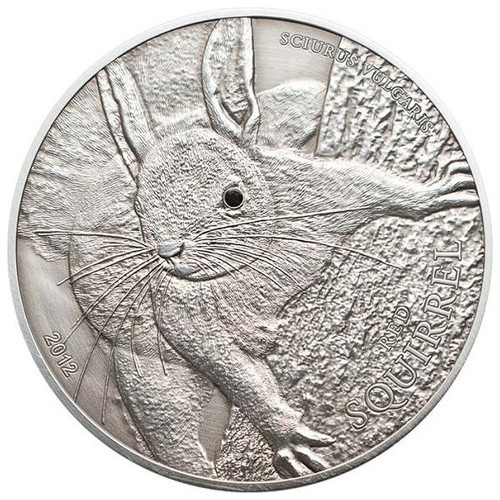 RED SQUIRREL- black Swarovski Silver Coin 5$ Palau 2012