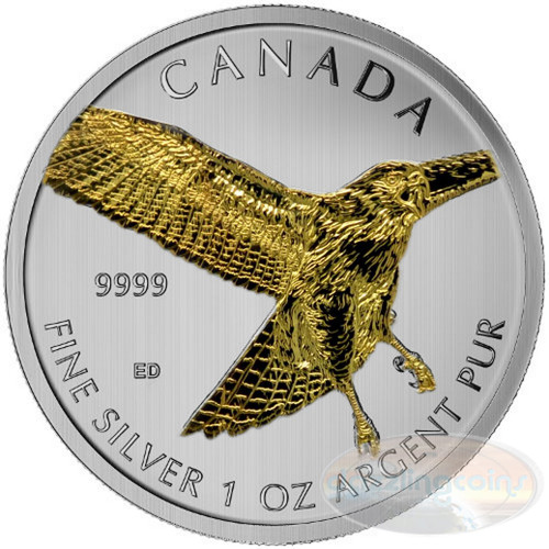 1 OZ Birds of Prey 2015 - Red Tailed Hawk $5 Silver .9999
