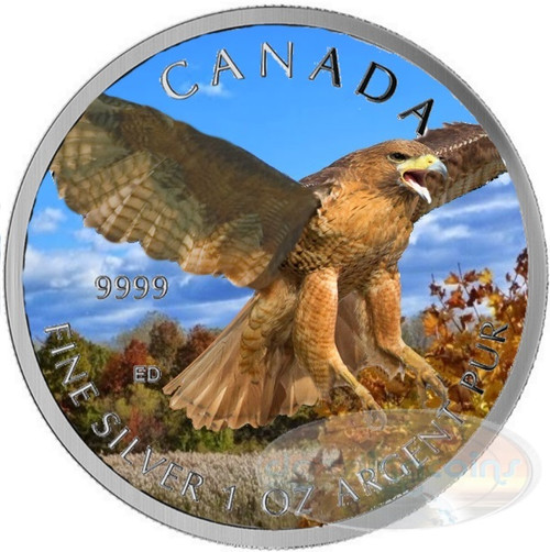 Red Tailed Hawk 1 oz Silver .9999 Color II $5 Canada 2015