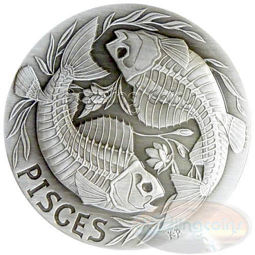 2015 Zodiac PISCES MEMENTO MORI Rimless HR Antique Silver 1oz
