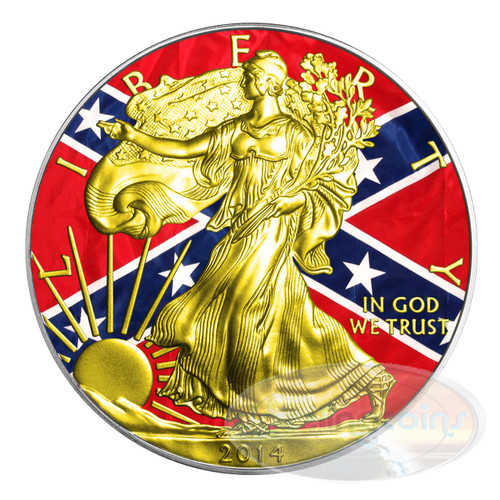 "2014 1 oz $1 Silver Eagle ""Civil War - The Confederacy"" - Color/ 24K Gold"