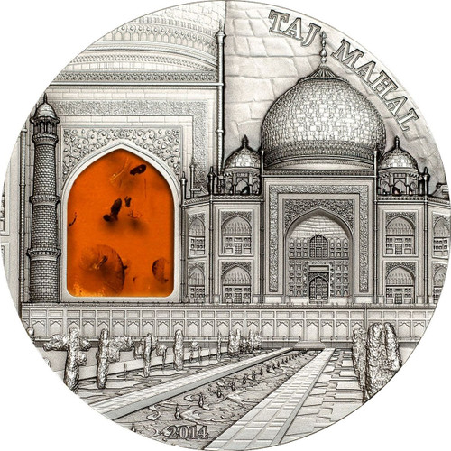 Taj Mahal Mineral Art 2 oz AF Silver Coin Palau 2014 $10