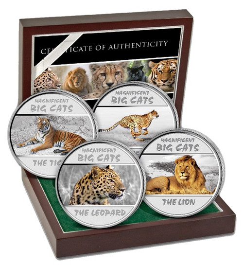 Magnificent Big Cats Silver Proof coins Congo 2011