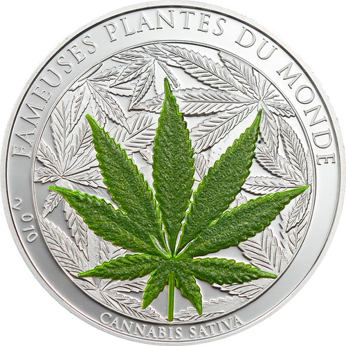 CANNABIS SATIVA 1000 Francs BENIN 2010 1 oz Silver Proof Coin