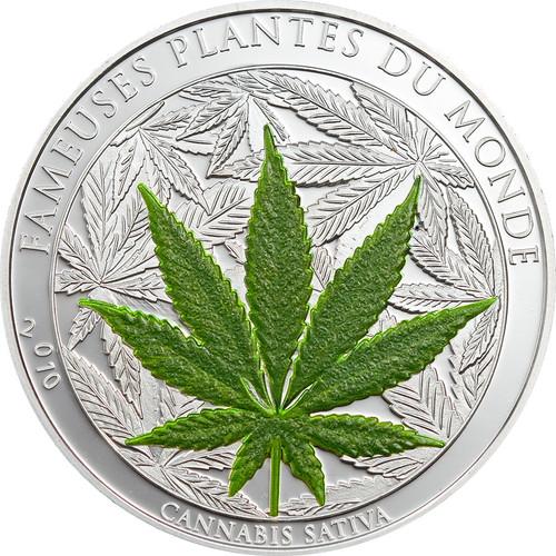 CANNABIS SATIVA 1000 Francs BENIN 2010 1 oz Silver Proof Coin