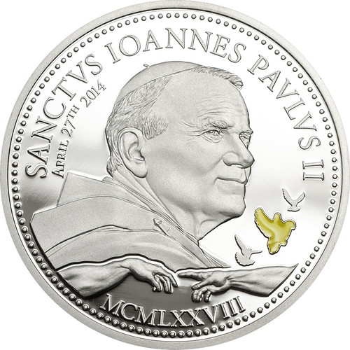 Canonization of John Paul II~Silver Coin 2$ Cook Island 2012