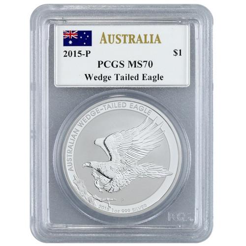 2015-P Australia PCGS MS 70 Wedge Tailed Eagle~Mercanti Signed