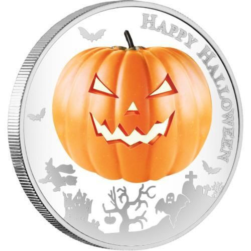 2014 1 oz Silver Coin - Halloween -Glow In The Dark - Jack-O-Lantern