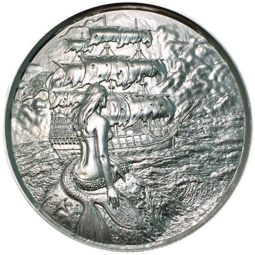 2 oz Silver Privateer Ultra High Relief Rounds Siren Silver