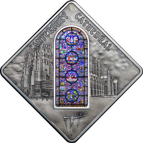 Canterbury Cathedral - Sacred Art Silver Coin 10$ Palau 2015