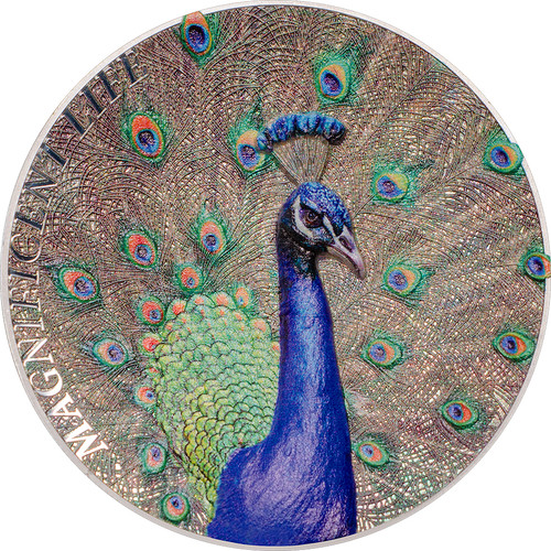 Peacock - Magnificent Life Proof Silver Coin 5$ Cook Islands 2015
