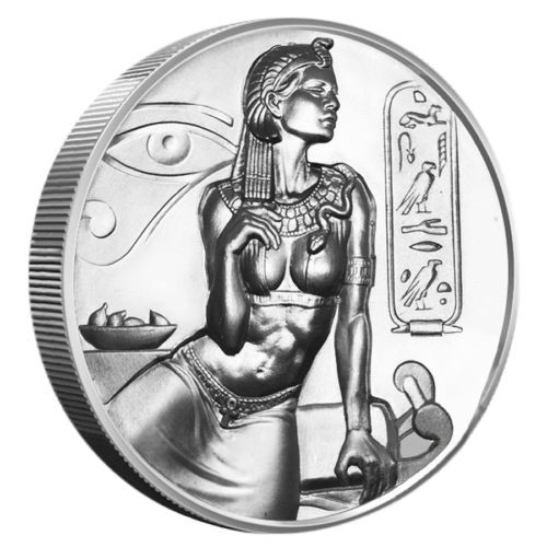 Cleopatra 2 oz high relief silver round