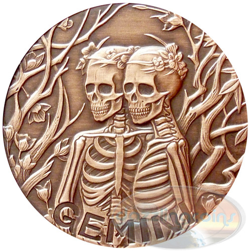 2015 ZODIAC Gemini   MEMENTO MORI Rimless HR Antique Copper 1oz