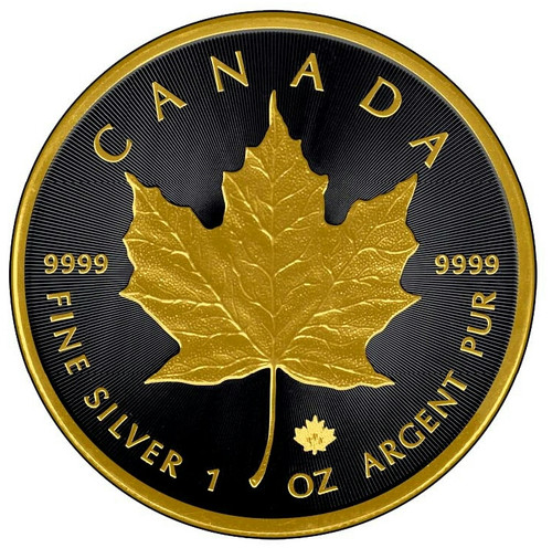1 oz. Silver Maple Leaf - Gold Black Empire Edition coin 2015 Canada