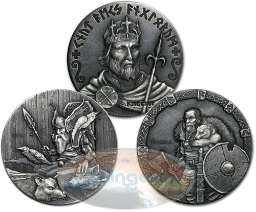 Viking Series~3 Coin Set Rimless Antique Silver 6 oz Niue 2015