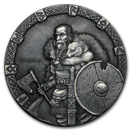 Viking Series~Ragnar~ Rimless Antique Silver 2 oz Niue 2015