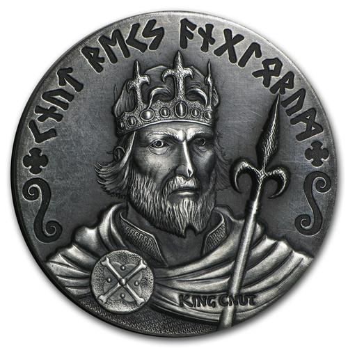 Viking Series~King Cnut~ Rimless Antique Silver 2 oz Niue 2015