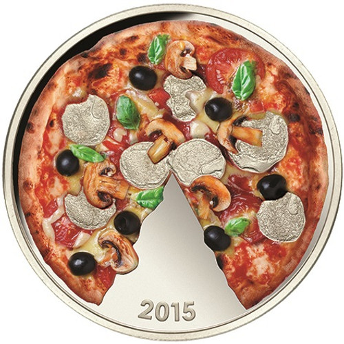 Pizza Scented Coin $5 Pure Silver 2015 Solomon Islands