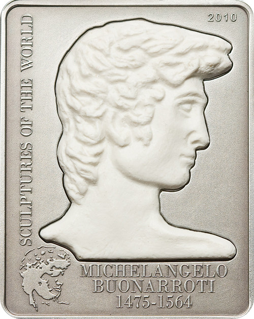 Michelangelo's David ~Sculptures of the World ~5$ Cook Island Silver Coin