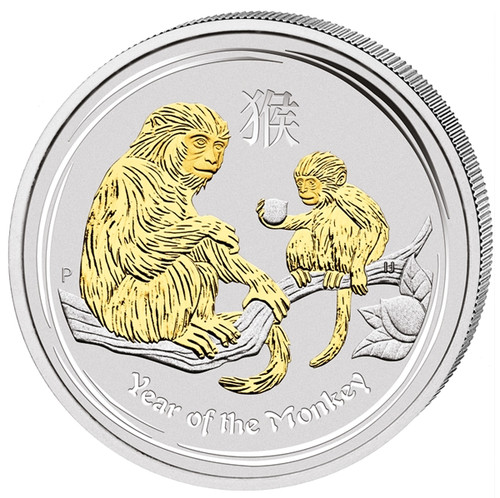 2016 $1 Lunar Year of the Monkey-1oz Silver Gilded Coin in Case