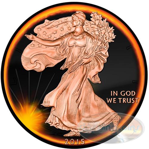 ECLIPSE OF THE SUN- Liberty - 2015 1 oz Silver Eagle Coin - Ruthenium& Rose Gold