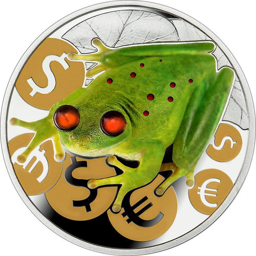 Money Frog Luck .999 1 Oz Proof Silver Coin w/Amber Niue 2015