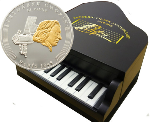 Life of CHOPIN PIANO box Silver Proof 8 Coin set 2009 Andorra