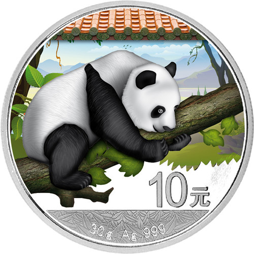 30 g Silver  color Panda  10 Y China 2016