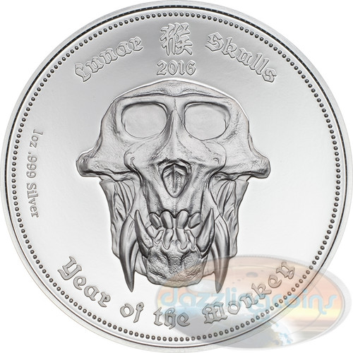 "2016 Palau ""Lunar Skulls"" Year of the Monkey 1oz .999 Silver PROOF Coin"