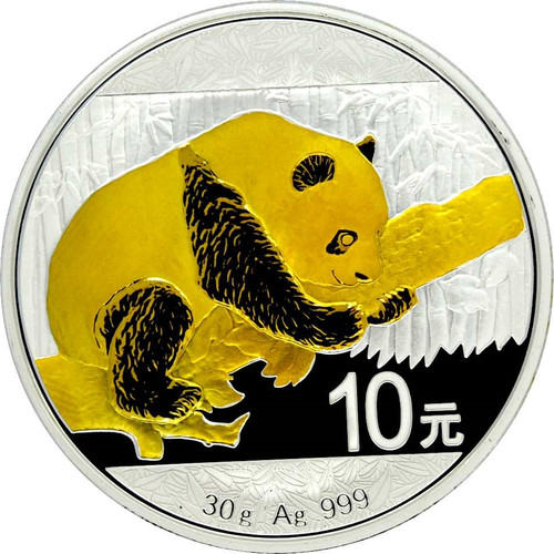 30 g Panda Silver 24 K Gold Gilded II  10 Y China 2016