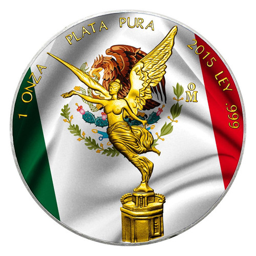 MEXICAN FLAG - 2015 1 oz Libertad Silver Coin - Color - 24K Gold