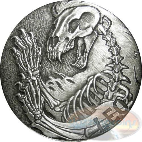 Zodiac LEO MEMENTO MORI Rimless High Relief Antique Silver 1oz