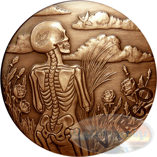 Zodiac VIRGO - MEMENTO MORI Rimless High relief Antique Copper 1 oz