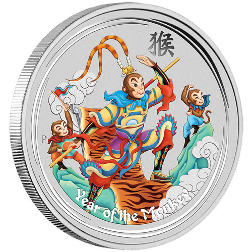 YEAR of the MONKEY -Monkey King -  2016 1 oz Pure Silver Color Coin
