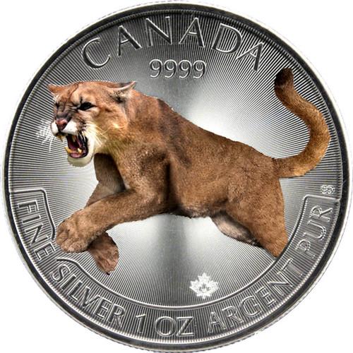 2016 Cougar Canada Predator Series-Color II 1 oz .9999 Silver $5