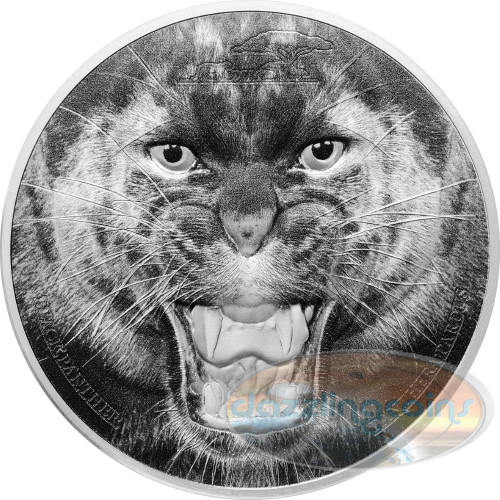The Black Panther - Rare Wildlife 2 oz .999 Silver 2016 Tanzania