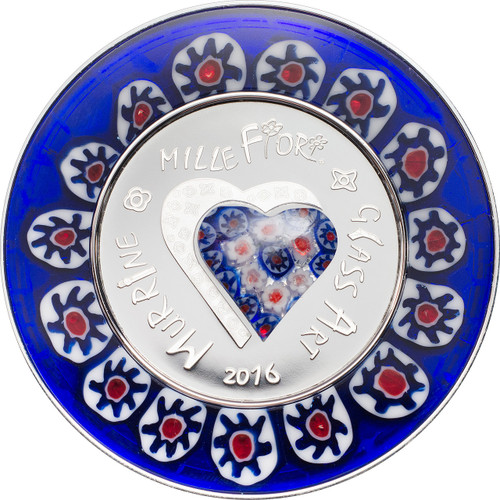 MURRINE MILLEFIORI GLASS ART Venetian Murano Silver Proof Coin 5$ Cook Islands 2016