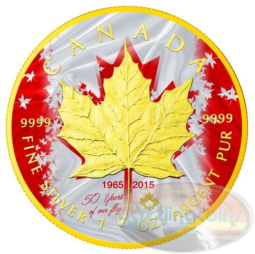 PATRIOTIC MAPLE LEAF FLAG Ann. - 2015 1 oz Silver Coin - Color -24K Gilding
