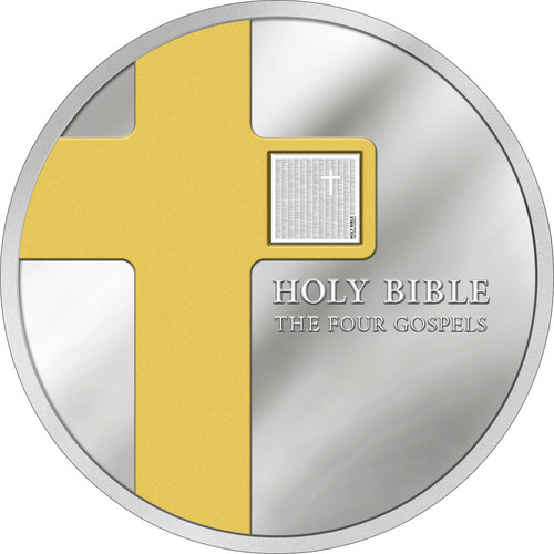 The Holy Bible - Four Gospels on NANO chip- 2016 Cook Island 1 oz Silver Coin