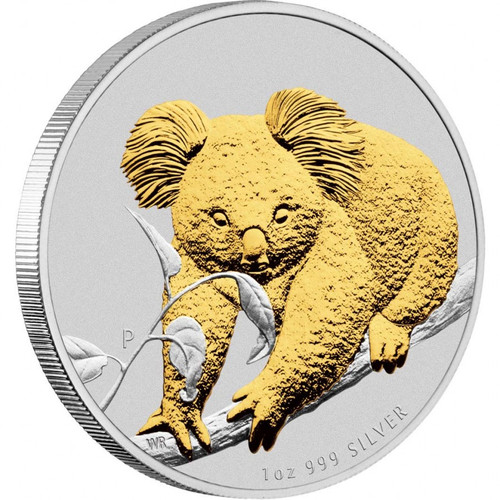 Koala Gold Plated Silver Coin 1 oz 2010 P Australia