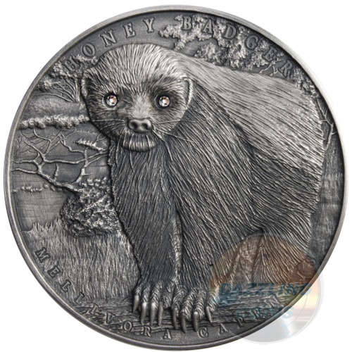 HONEY BADGER - 2 oz Pure Silver - High Relief - Swarovski 2015 Niue