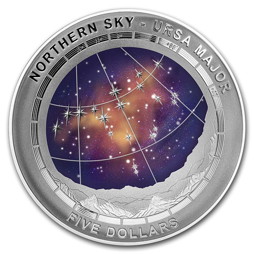 URSA MAJOR - Northern Sky Curved Domed Silver Coin 5$ AUS 2016
