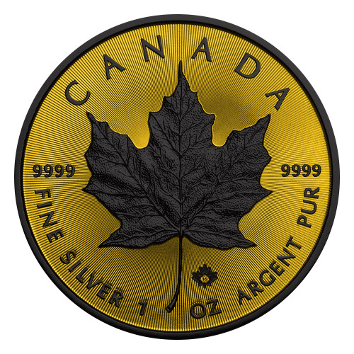 Maple Leaf Gold Shadows 1 Oz Silver Coin $5 2016