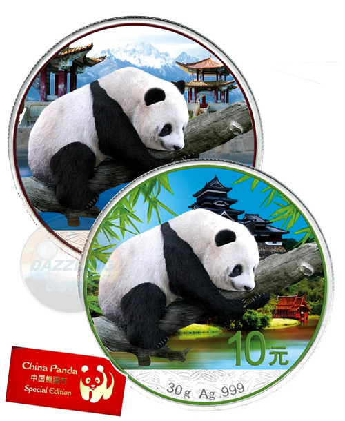 2x 30 g Silver Color Panda  10 Y China 2016 Winter - summer