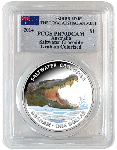 Saltwater Crocodile Graham PCGS PR70 1 oz Silver Proof Aus 2014