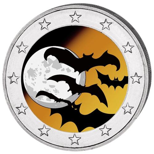 2016 2 Euro Halloween Bats Colored Coin