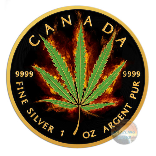 2016 Maple Leaf Burning Marijuana-Sativa 1oz Silver Coin