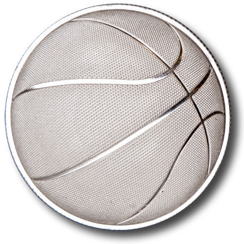 2016 1 oz Domed Basketball Silver Round rev